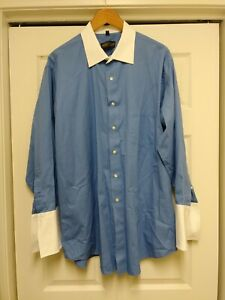 Donald-J-Trump-Signature-Collection-Blue-Shirt-French-Cuff-Sz-18-32-33-Big