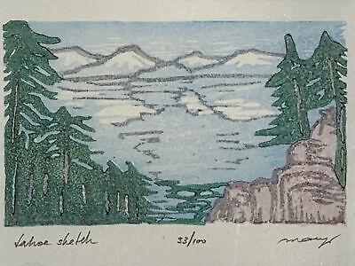 Ancient Bristlecone Pine Tree Small Original Woodcut from Alpine Mountain Trees