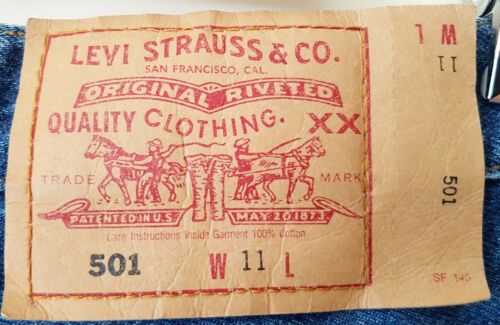 LEVI STRAUSS Original 501 LEVI'S JEANS Size 11 Uni W11 L30 Button Fly Used