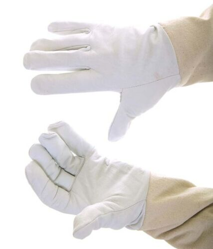 S Size Beekeepers White Leather Gloves