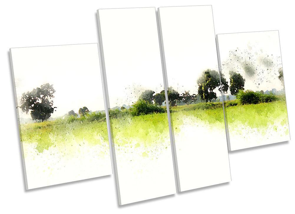Grün Landscape Minimalist CANVAS WALL ARTWORK Four Panel Art