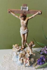 Image Is Loading Crucifix And Angels Exquisite 12 Inch Standing Tabletop