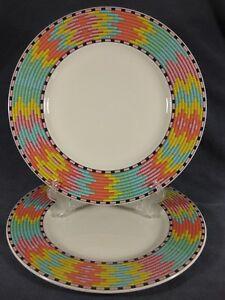 Villeroy-amp-Boch-Gallo-Design-Ethno-Lot-of-2-Dinner-Plates-Porcelain-Basketweave