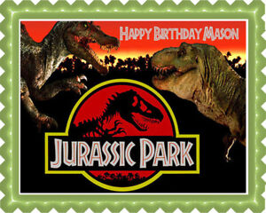 Jurassic Park Edible Cake Topper Or Cupcake Topper Decor Ebay