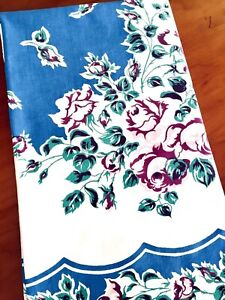 Vintage-Barkcloth-Tablecloth-Blue-w-Pink-amp-Maroon-Roses-49-034-x45-034