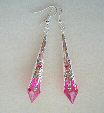Hot Pink Cerise Faceted Teardrop Silver Filigree Drop Earrings in Gift Bag