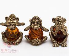 Solid Brass Amber Figurine 3 Three wise monkeys see hear speak no evil IronWork