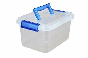 Pack of 10 x 35 Litre Plastic Storage Boxes with Clip Lid Handle