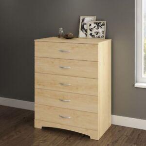 Wooden Dresser 5 Drawer Chest Storage Cabinet Organizer Closet ...