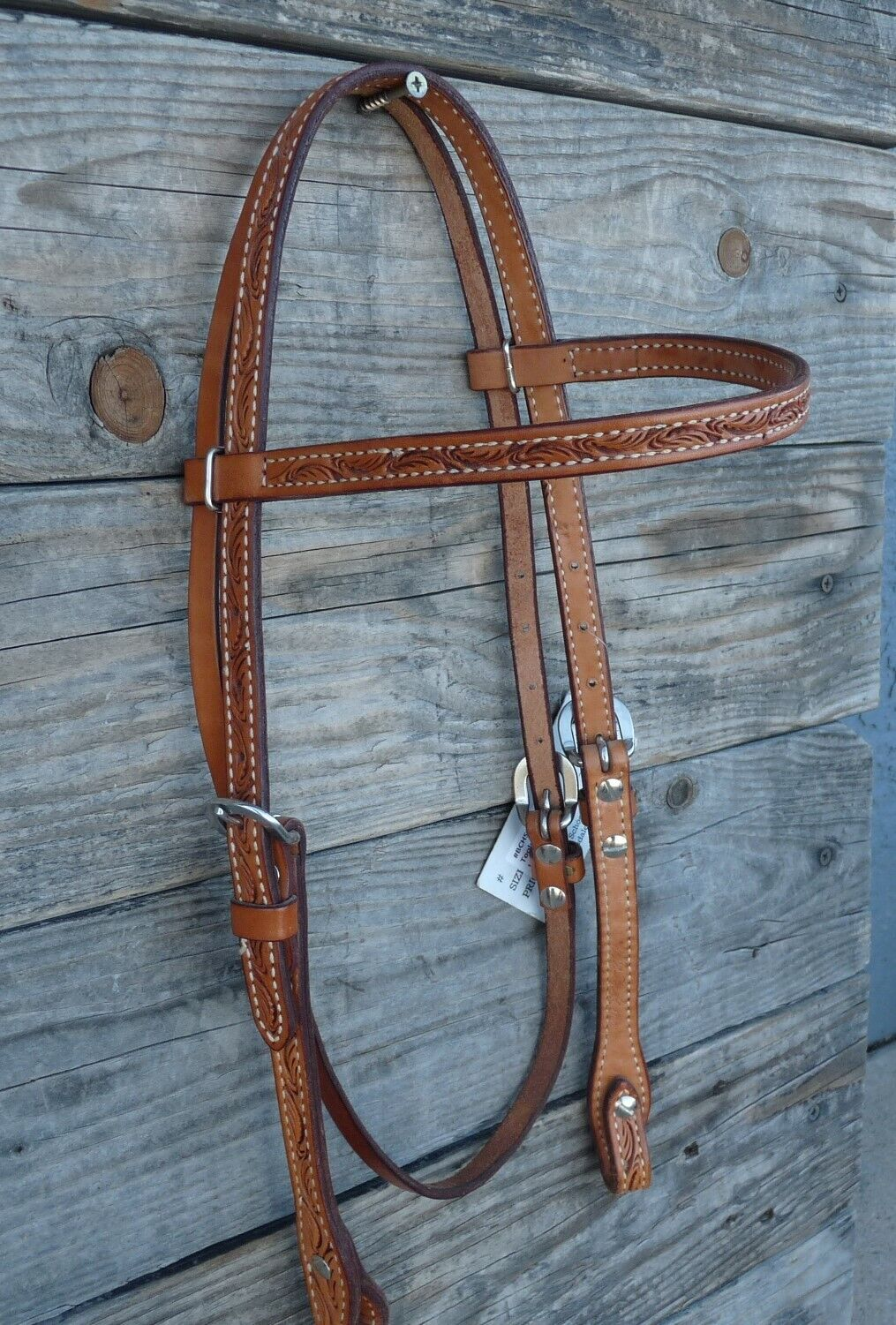 Billy Cook Rawhide Laced Basket Stamped Headstall Leather Horse Tack Water Ties