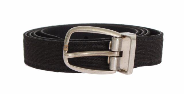 NEW $300 DOLCE /& GABBANA Belt Black Linen Leather Silver Buckle Waist 95cm //38in