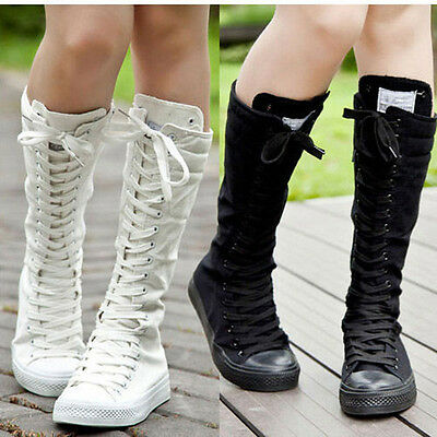 New Sexy  PUNK EMO Women Shoes Canvas Boots Zip Lace Up Knee High Sneaker Pumps