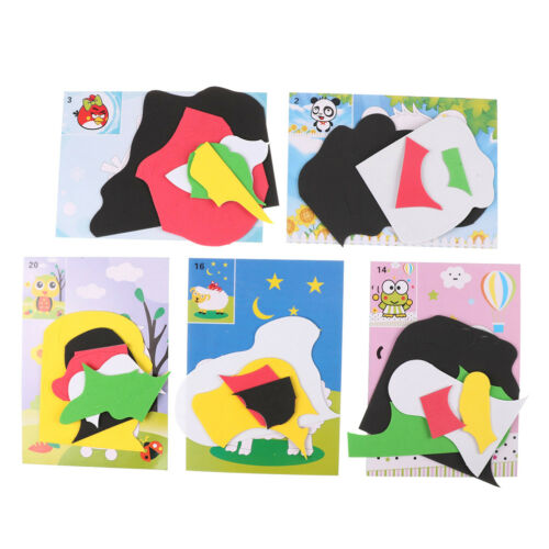 5x 3D Cartoon Puzzle Handmade DIY Paste Sticker Foam Kids Educational Gift To jx