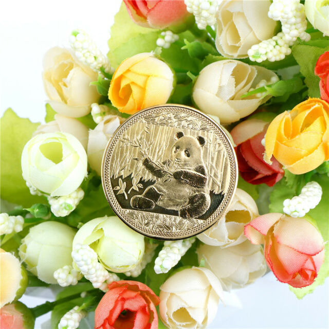1PC gold-plated big panda baby commemorative coins collection art gift 2018HFFS