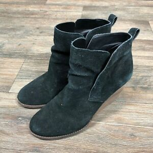 100db49a723f Lucky Brand Yoniana Black Suede Wedge Booties Boot MSRP  139 size 11 ...