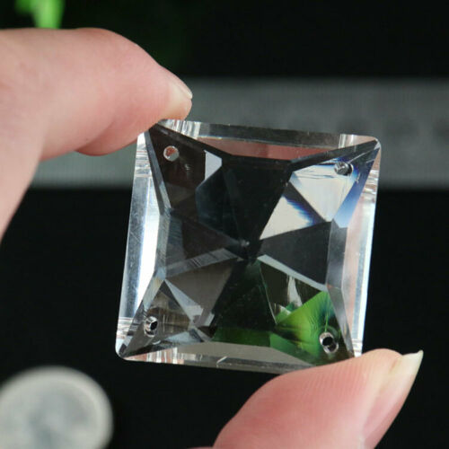 5X Clear Square Glass Crystal Prisms Spacer DIY Chandelier Part 4Hole SUNCATCHER