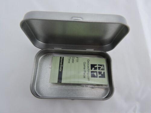 Geocache Cache Contenitore di latta magnetico o non pronta per nascondere a cerniera in metallo coperchio