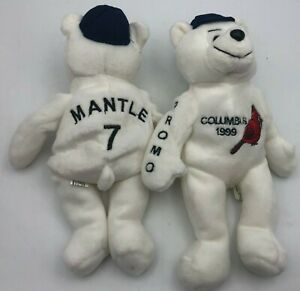(2)x Mickey Mantle Promo BEANIE Plush Toy Baseball BEARS Yankees 1999 Columbus