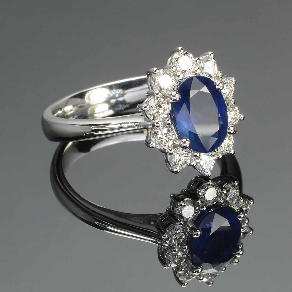 3.05 Ct Oval bluee Sapphire Diamond Wedding Ring Real 14K White gold Size 7.5