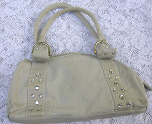 Vintage-Women-039-s-Handbag-Satchel-Cotton-Khaki-Crystal-Studs-Medium-Size-11in