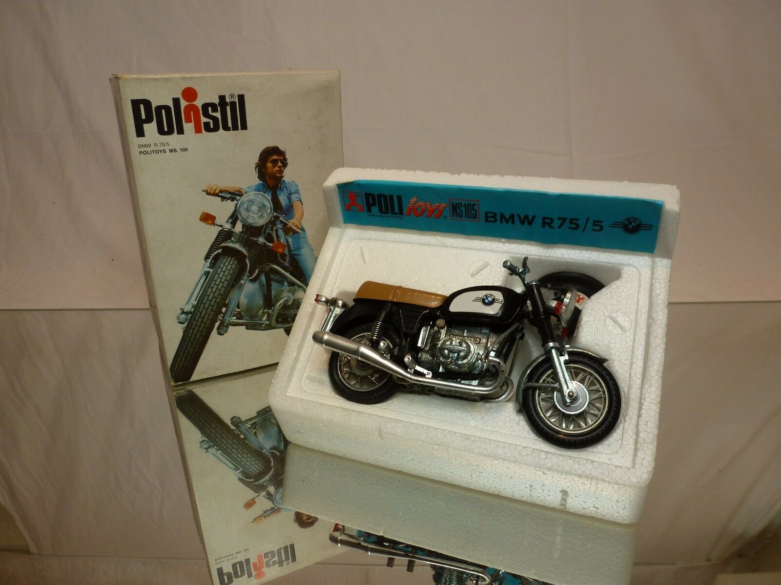 POLISTIL POLITOYS MS105 BMW R75 R 75 5 - negro 1 15 - GOOD CONDITION IN BOX