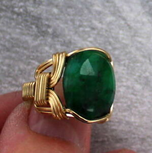 Emerald-Gemstone-Ring-in-14kt-Rolled-Gold-Wire-Size-5-to-15