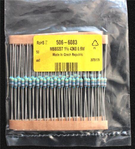 Vishay MBB0207 Series AXIAL FILM Mince fixe Résistance 43kΩ ± 1/% 0.6 W lot de 50