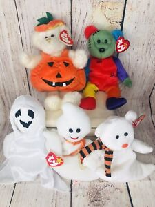 5 Lot Vintage,Halloween Ty Beanies,Carver, Frankenteddy, Spooky,Sheets & Quivers