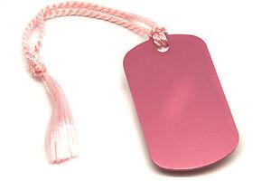 Personalised-Pink-Aluminium-Dog-Tag-Bookmark-Gift-Box-Choice-of-Tassel-Engraved