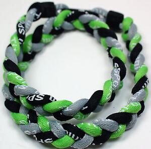 "Wholesale Lot of 12 Titanium Tornado Sports Necklaces 20/"" Neon Green White Lime"