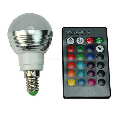 E14 3W RGB LED 16 Colors Changing Light Lamp Bulb With IR Remote Control ap7e