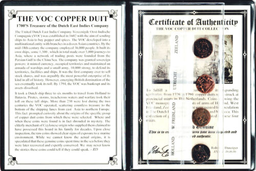 4 VOC Dutch East Indies Co Copper Duits Coins,1700/'s Certificate,Story /& Album
