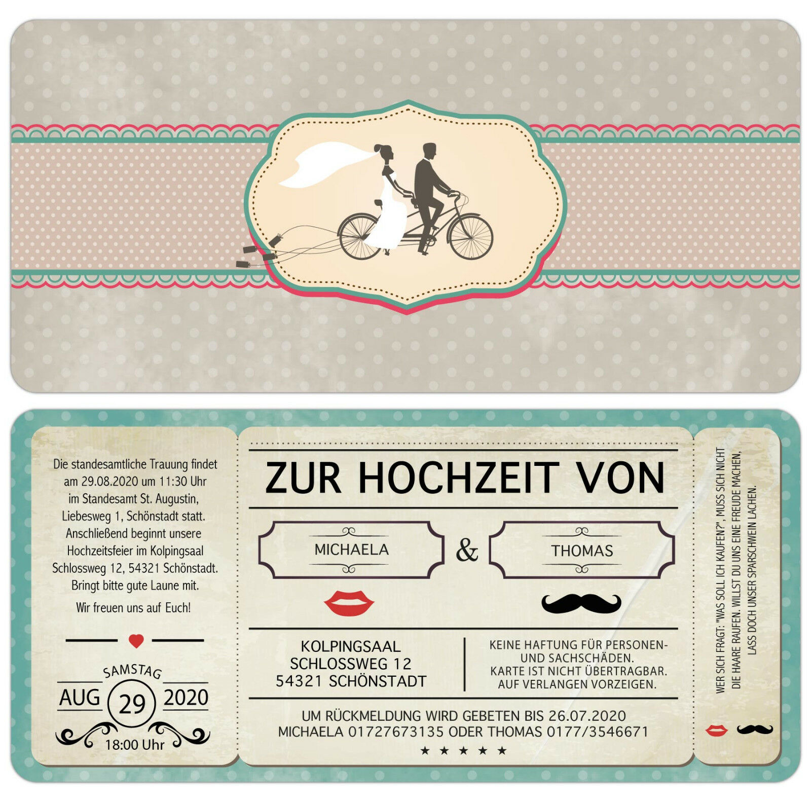 Einladungskarte zur Hochzeit - Vintage - Retro - Eintrittskarte - echter Abriss   | Hochwertig  | Vollständige Spezifikation