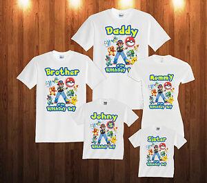 869ad453 Image is loading Personalized-Custom-Pokemon-Birthday-T-Shirt-Family-Shirts
