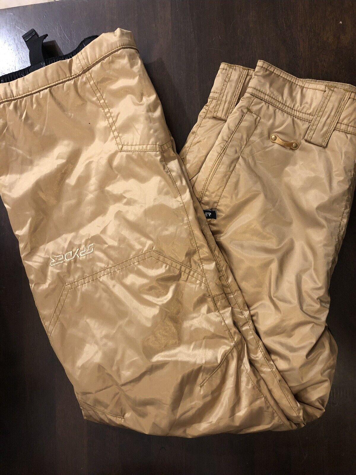 Spyder NWOT Metallic Gold Snow Ski Snowboard Pants AWESOME Youth Größe 14
