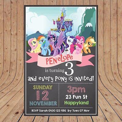 Printable My Little Pony Birthday Invitations Personalised Rainbow Pony/'s Invite