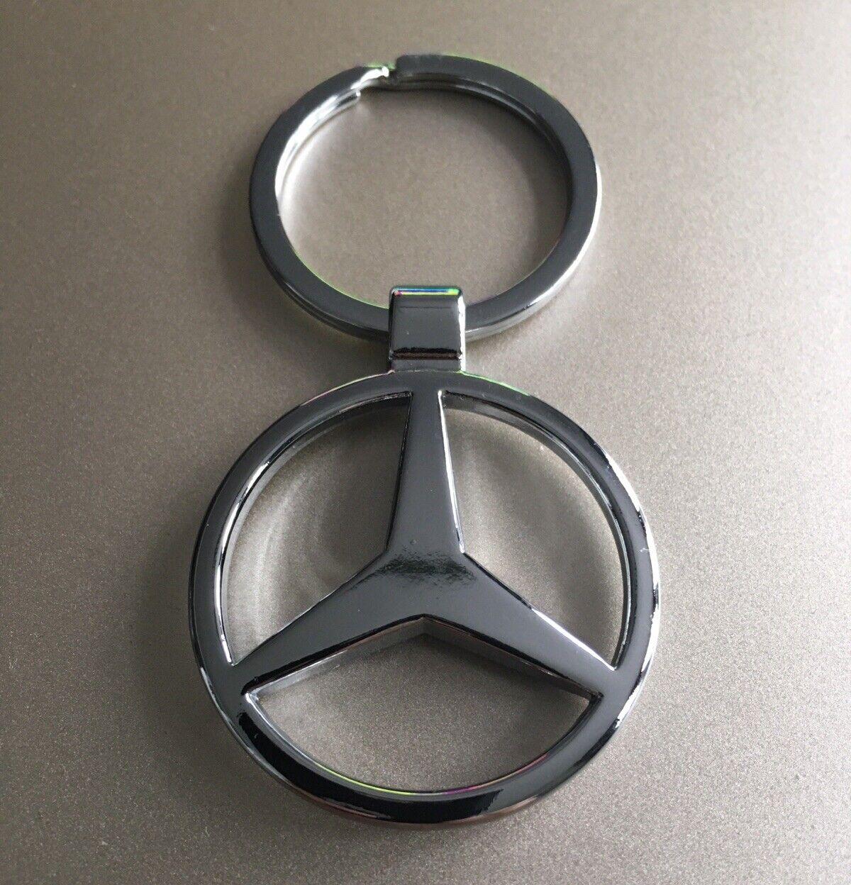 'MERCEDES BENZ' Keyring Chrome Keychain Official Logo Silver Key Ring Car Chain