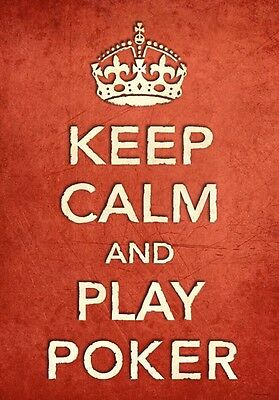 CR4 Vintage Style Red Keep Calm And Play Poker Sport Funny Poster Print A2//A3//A4