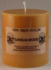 Two Organic Palm Oil Church Candles Sandalwood scented, 5cm x 5cm. 12 hrs each
