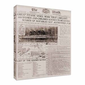 Titanic-Newspaper-Headlines-Canvas-Wall-Art-Picture-Print