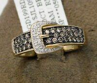 10k Yellow Gold Chocolate White Diamond Belt Fashion Ring Ladies Clearance
