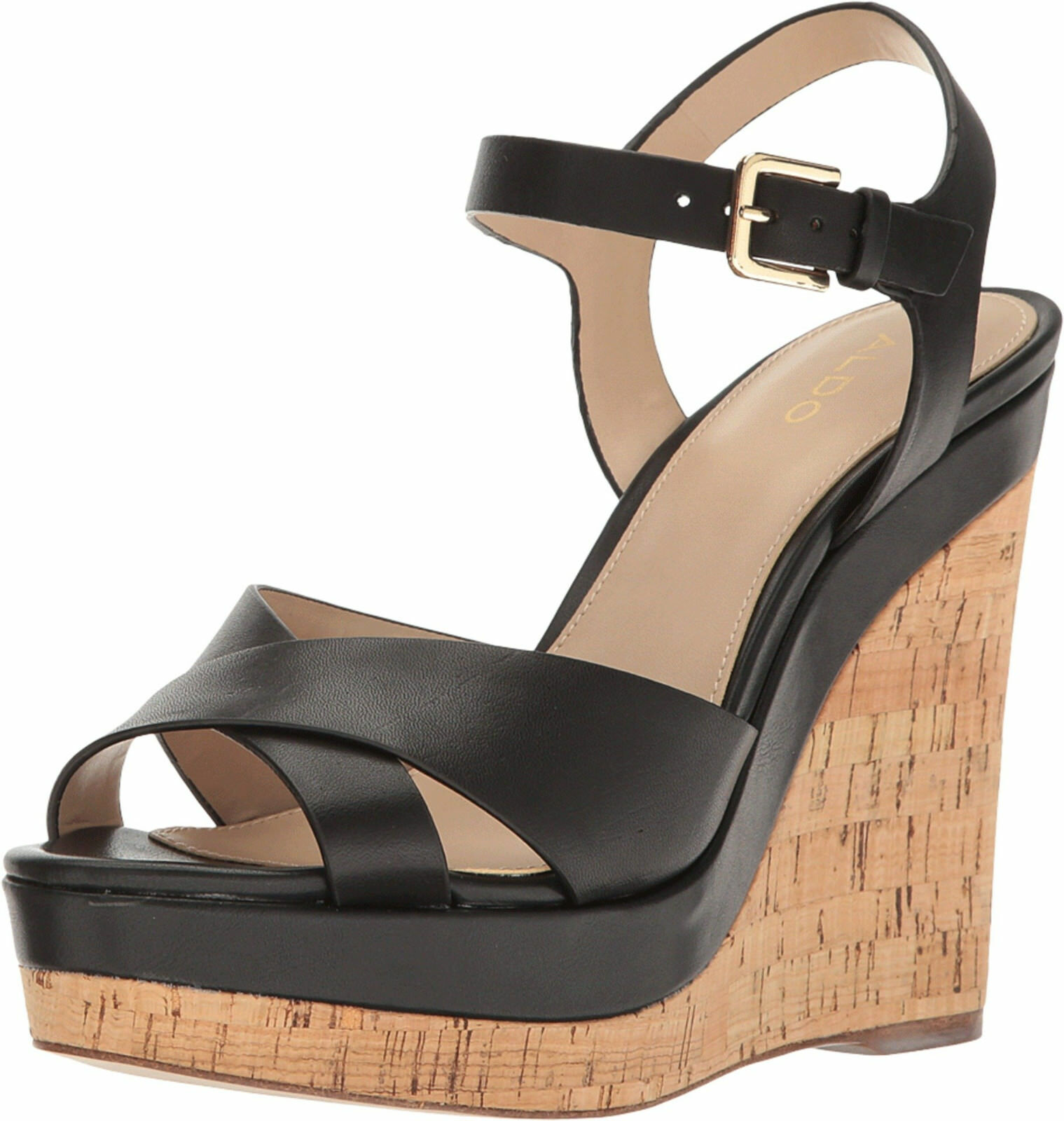 ALDO SIZE 7 40 MADYSON BLACK REAL LEATHER HIGH HEEL WEDGE Schuhe SANDALS BNWB