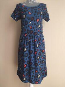 Kookai-Womens-Jumper-Dress-Size-8-10-Petrol-Teal-Blue-Heart-Print-Short-Sleeved