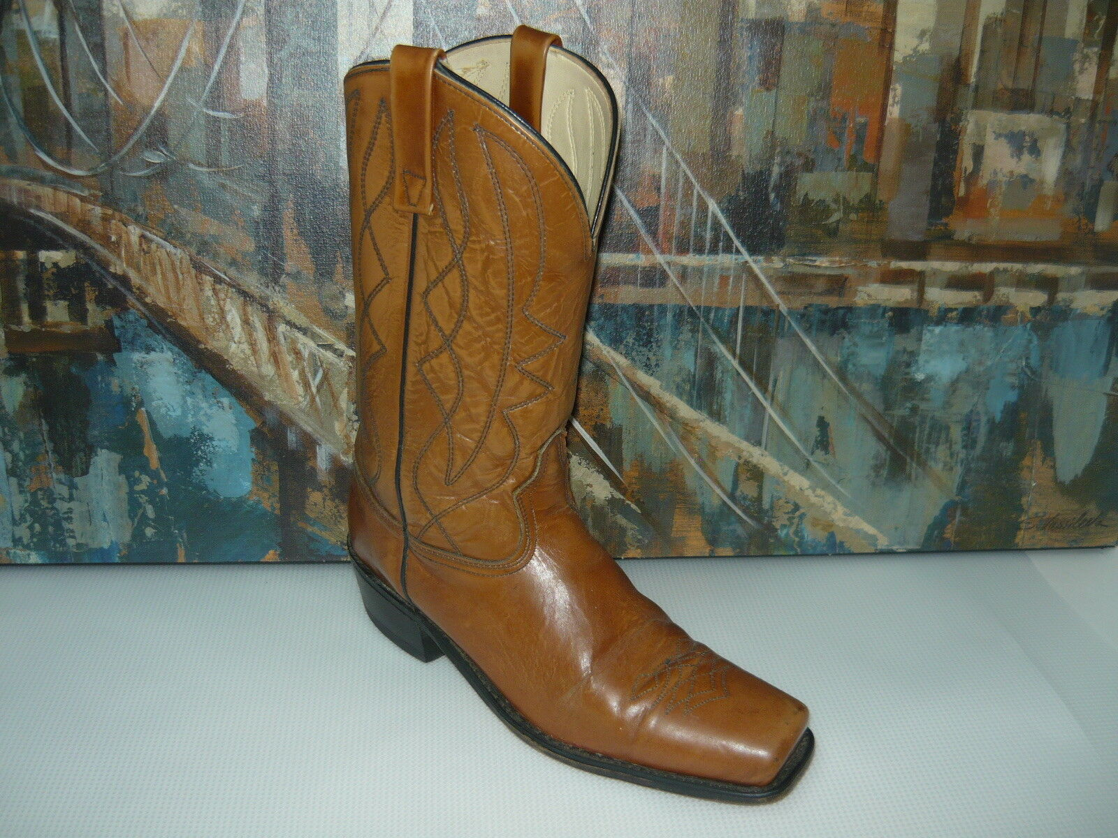 VTG WOMENS  COWBOY LEATHER BROWN BOOTS SIZE 10.5D