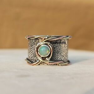 Ethiopian-Opal-Ring-925-Sterling-Silver-Band-Ring-Statement-Handmade-Ring-A308