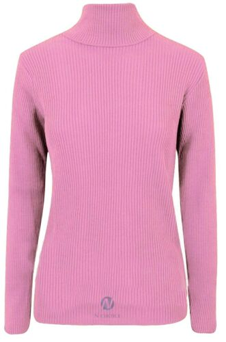 Womens High neck Ribbed Polo Turtle Roll Neck Tunic Top Jumper Long Sleeve Ribed