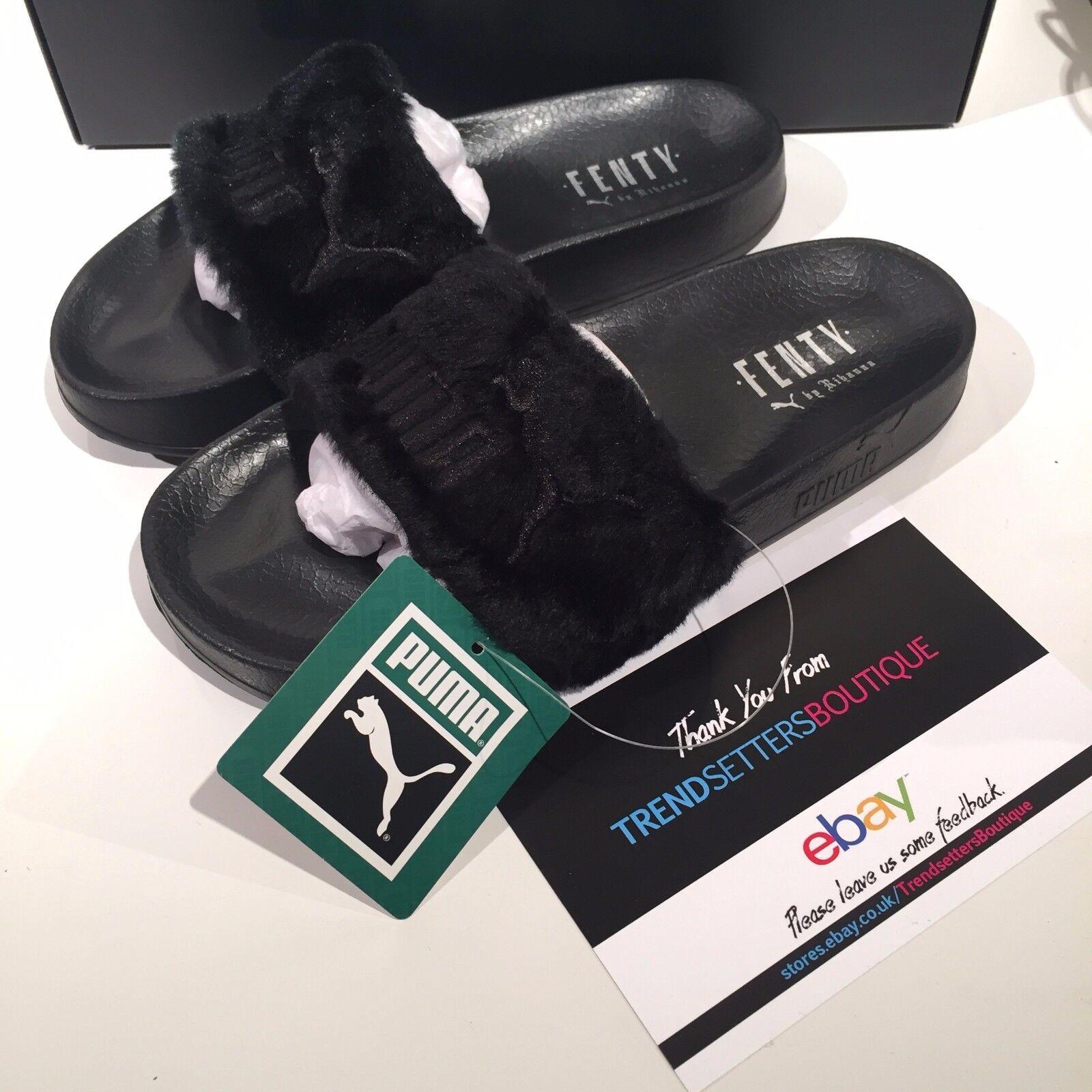 Puma Rihanna Negro Furr Fur Fur Fur leadcat DIAPOSITIVAS PANTUFLAS UK US 4 5 6 7 8 9 10 Hand  tienda