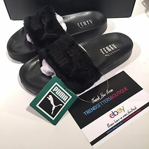 59d3a3c75 PUMA RIHANNA BLACK FURR FUR LEADCAT SLIDES SLIPPERS UK US 4 5 6 7 8 ...