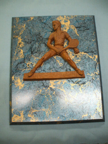 8 X 10 blue and gold plaque board award trophy tennis male high relief resin