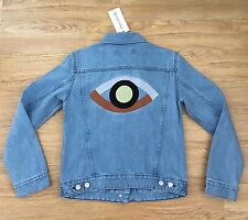 BNWT Etre Cecile Eye Embroidery Regular Denim Jacket! Size SMALL! SUPER HOT ITEM